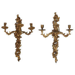 Pair of French Rococo Gilt Bronze Floral Sconces, Circa 1810