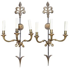 Pair of English Regency Style Arrow Sconces, Circa 1860