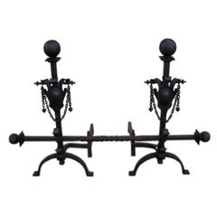 Pair of American Wrought Iron Andirons With Bar