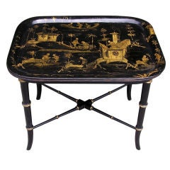 English Chinoiserie Paper Mache Tray On Stand