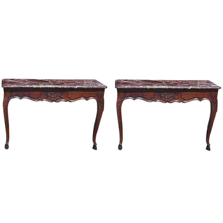 Pair of French Walnut Marble Top Wall Mounted Consoles