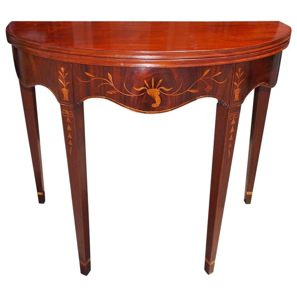 American Mahogany Demilune Inlaid Game Table, Circa 1780