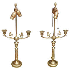 Pair of French Brass Decorative Chased Candlestick Lamps, Circa 1840