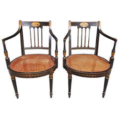 Pair of English Regency Stenciled and Gilt Armchairs, Circa 1790