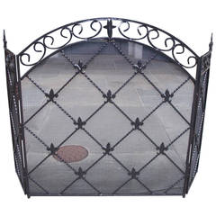 French Wrought Iron Arched Three-Panel Fleur-de-Lis Fire Screen, Circa 1840