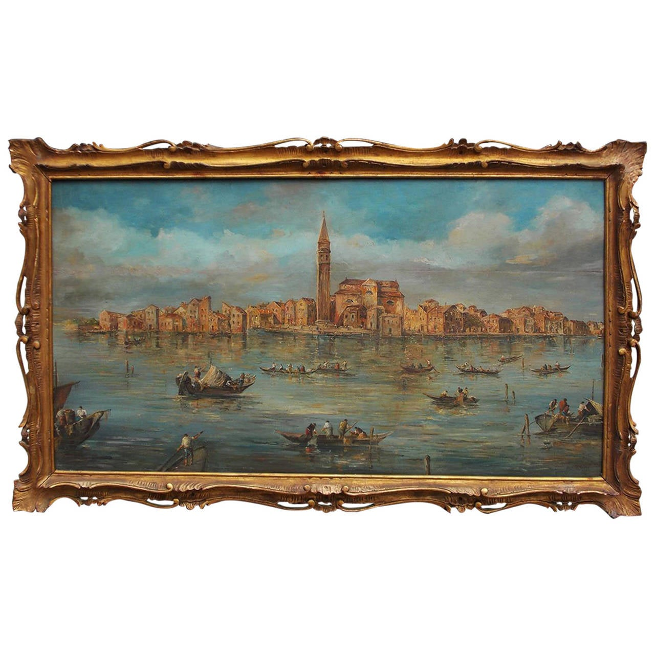 Venetian Oil On Board Painting, Island of Burano. 18th Century