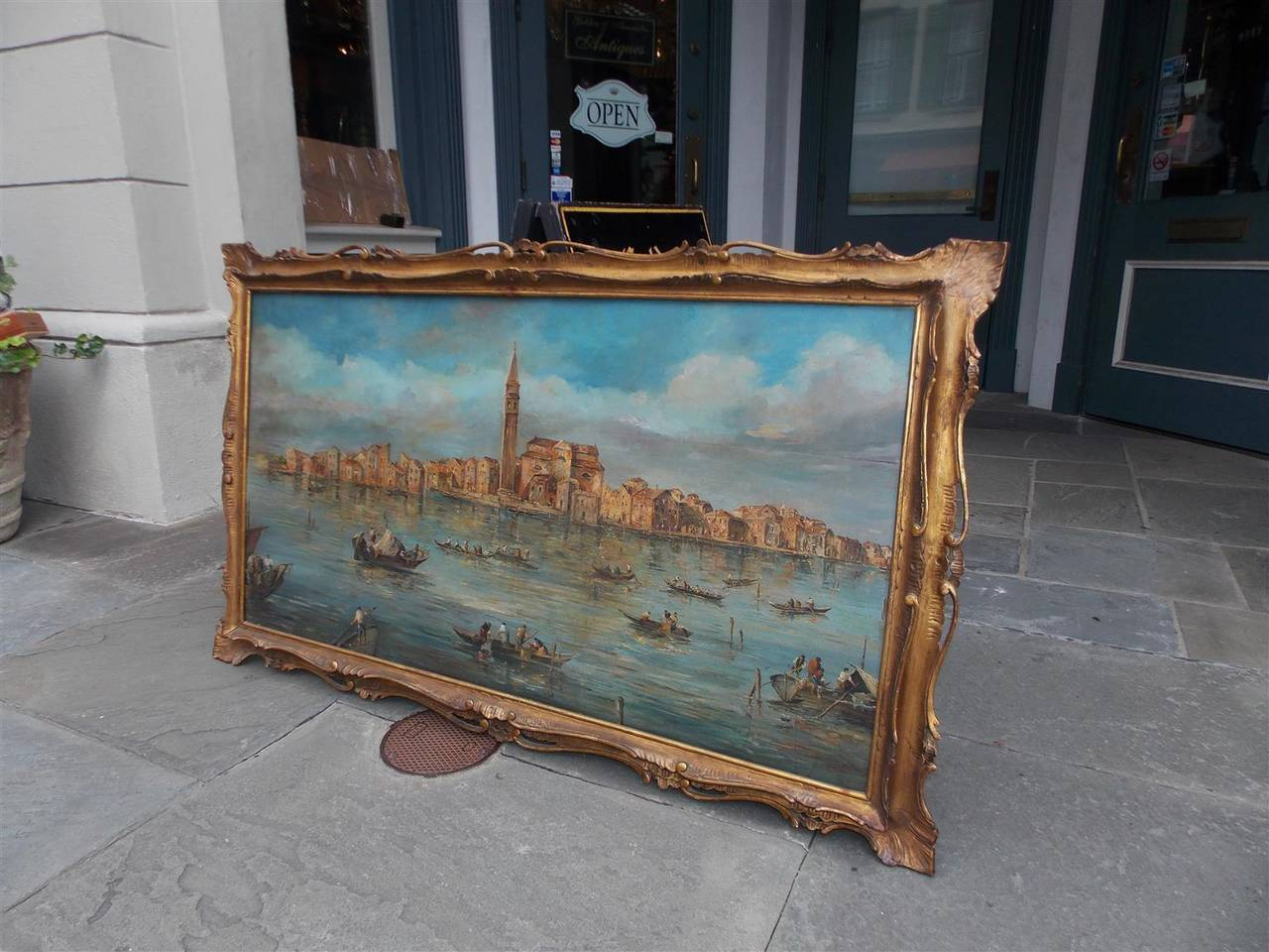 Baroque Venetian Oil On Board Painting, Island of Burano. 18th Century For Sale