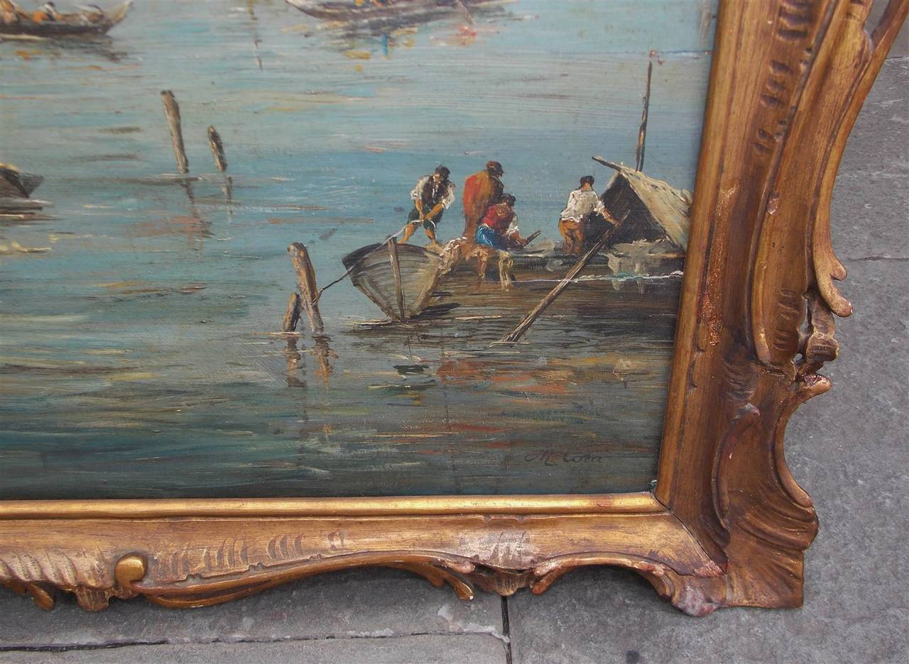 Italian Venetian Oil On Board Painting, Island of Burano. 18th Century For Sale