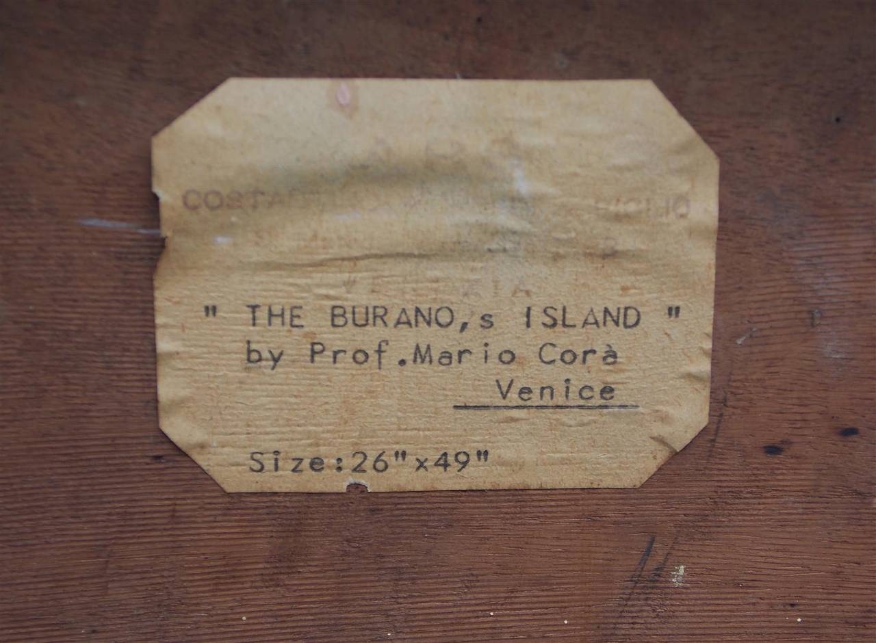 Venetian Oil On Board Painting, Island of Burano. 18th Century For Sale 2
