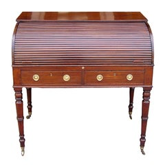 English Mahogany and Satinwood Sheraton Tambour Desk. Circa 1815