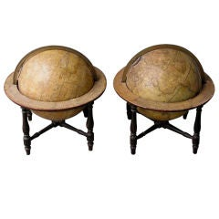 Pair of English Globes On Stand ( Terrestrial & Celestial )