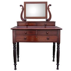 Caribbean Mahogany Five Drawer Dressing Table with Barley Twist Legs. Circa 1815