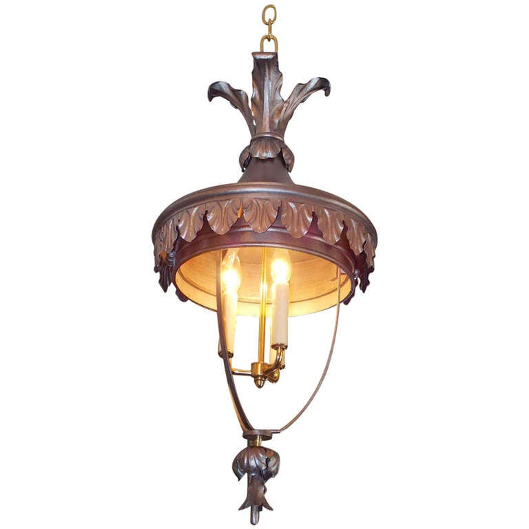 Italian Polished Steel and Brass Hanging Lantern