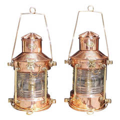Pair of Copper and Brass Neptune Anchor Lanterns. Early 20th Century