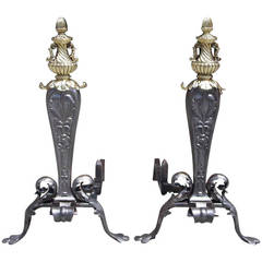 Pair of Italian Wrought Iron and Brass Acanthus Andirons, Circa 1810
