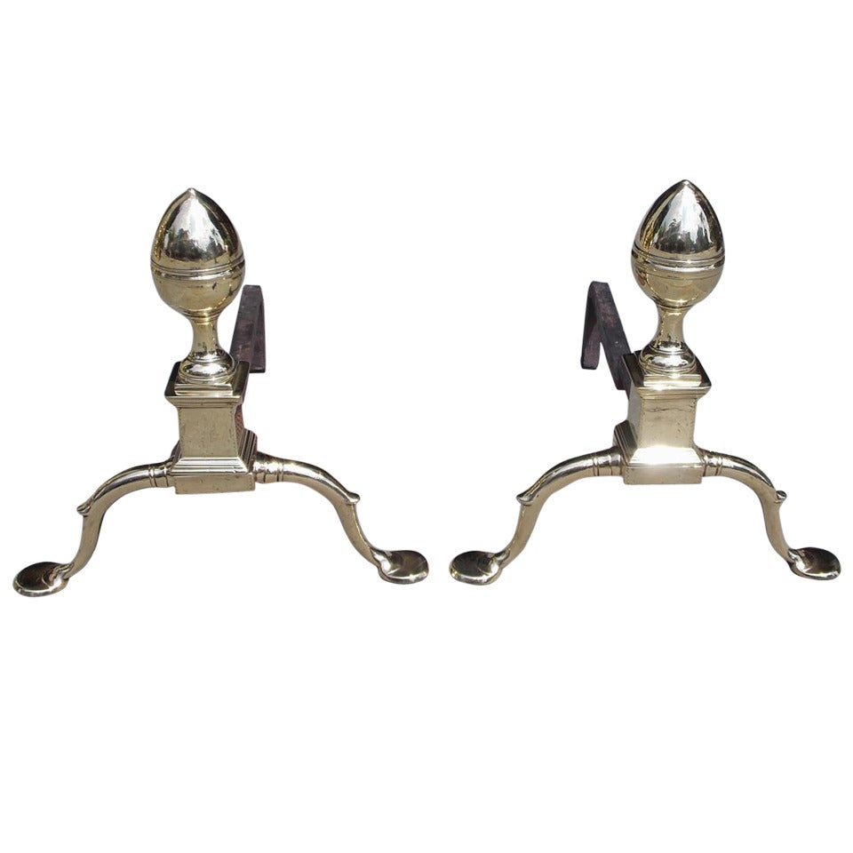 Pair of American Brass Acorn Andirons, Circa 1790, Philadelphia or Baltimore