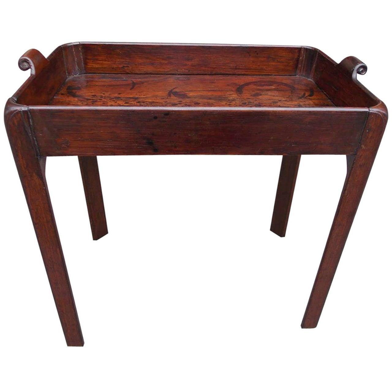 English Chippendale Mahogany Tray Table, Circa 1770