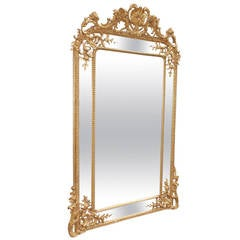English Carved Wood and Gesso Gilt Wall Mirror, Circa 1820