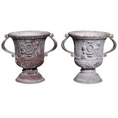 Pair of English Polychromed Lead Cherub Garden Urns, Circa 1790