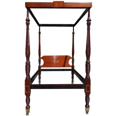 Charleston Mahogany Inlaid Four Poster Rice Bed. Circa 1810