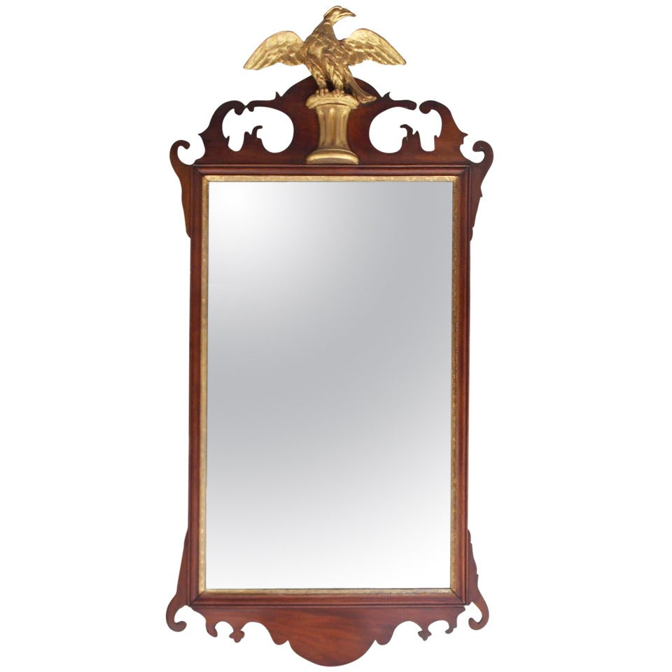 American Chippendale Mahogany and Gilt Wall Mirror.  Circa 1780