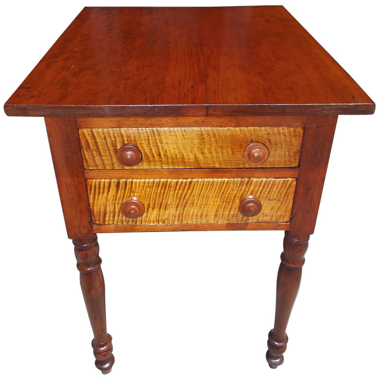 American Sheraton Cherry and Tiger Maple Two-Drawer Stand, Circa 1810