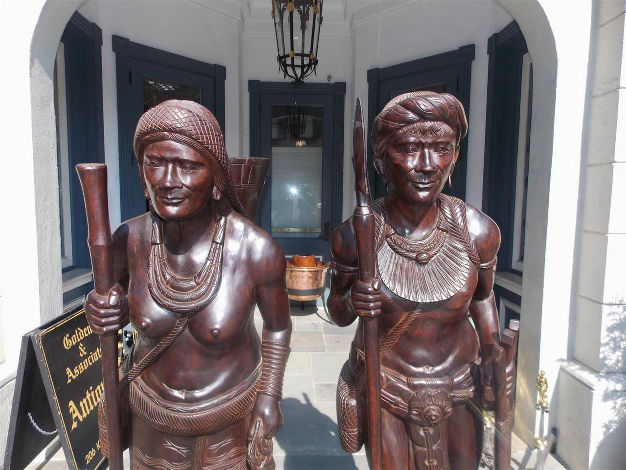 Philippine Pair of Igorot Tribesmen Figural Hunter and Huntress Carvings, Circa 1900 For Sale