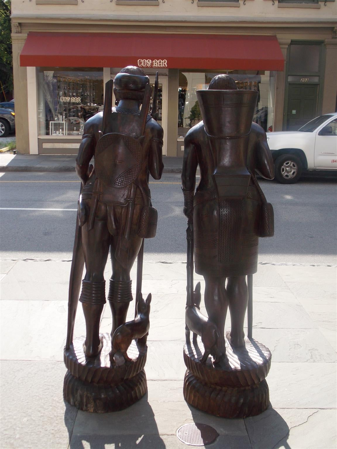 20th Century Pair of Igorot Tribesmen Figural Hunter and Huntress Carvings, Circa 1900 For Sale