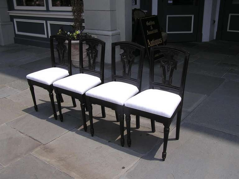 Set of Four Italian Mahogany Side Chairs, Circa 1820 In Excellent Condition For Sale In Charleston, SC