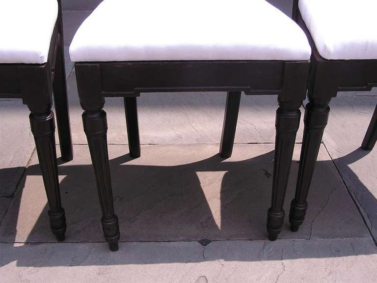 19th Century Set of Four Italian Mahogany Side Chairs, Circa 1820 For Sale