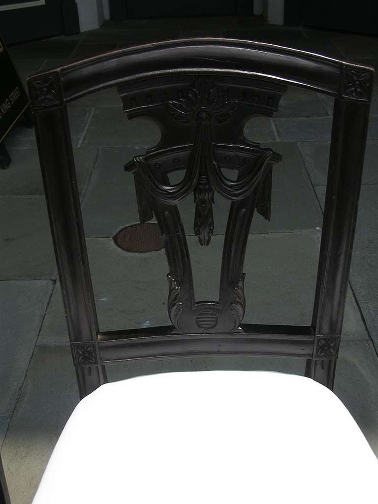Set of Four Italian Mahogany Side Chairs, Circa 1820 For Sale 1