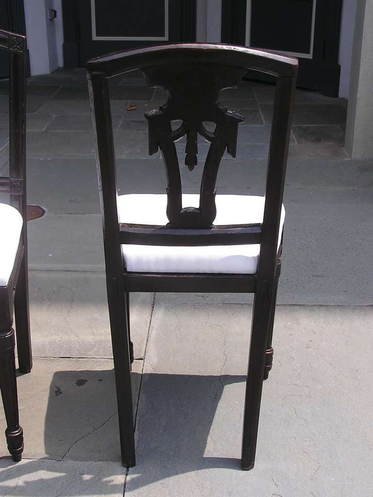 Set of Four Italian Mahogany Side Chairs, Circa 1820 For Sale 4