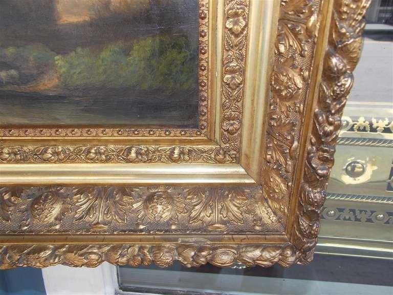 American Oil on Canvas Landscape . Circa 1850 For Sale 1