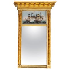 American Classical Eglomise Gilt Mirror