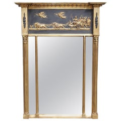 English Classical Federal Gilt Carved Wood and Gesso Wall Mirror, Circa 1780