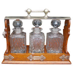 English Oak & Nickel Silver Decanter Tantalus. Stamped by Maker. Circa 1870
