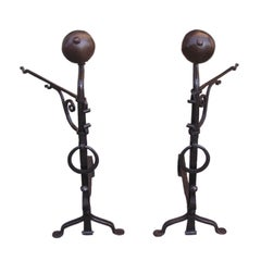 Pair of French Ball Top Andirons