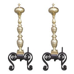 Pair of English Brass Ball Top Andirons