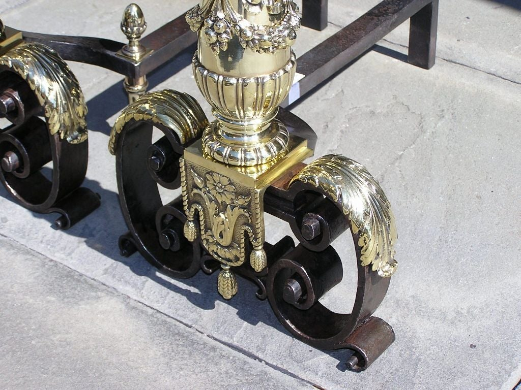 Pair of Italian Brass and Wrought Iron Urn Finial with Ribbon Andirons, C. 1800 For Sale 2
