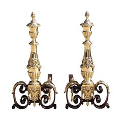 Pair of Italian Brass and Wrought Iron Urn Finial with Ribbon Andirons, C. 1800