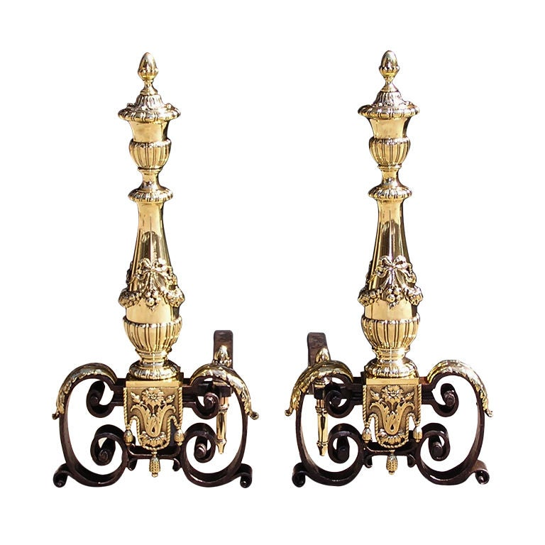 Pair of Italian Brass and Wrought Iron Urn Finial with Ribbon Andirons, C. 1800 For Sale