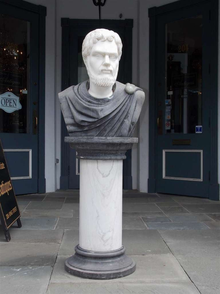 Italian carved marble Roman bust of Publius Aelius Hadrianus on marble pedestal.  Dealers please call for trade price.