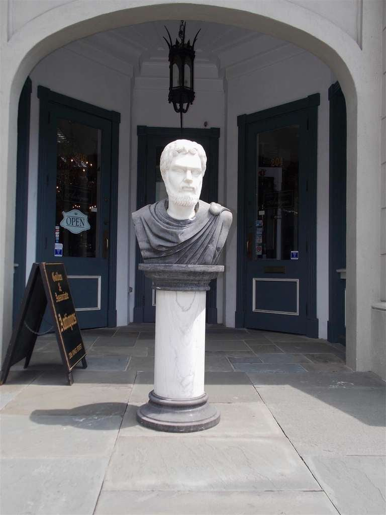 Italian Marble Roman Bust on Pedestal. Circa 1840 In Excellent Condition For Sale In Charleston, SC