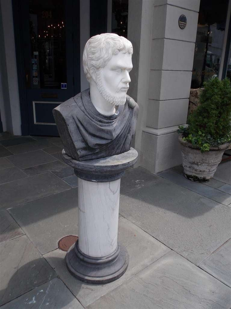 19th Century Italian Marble Roman Bust on Pedestal. Circa 1840 For Sale