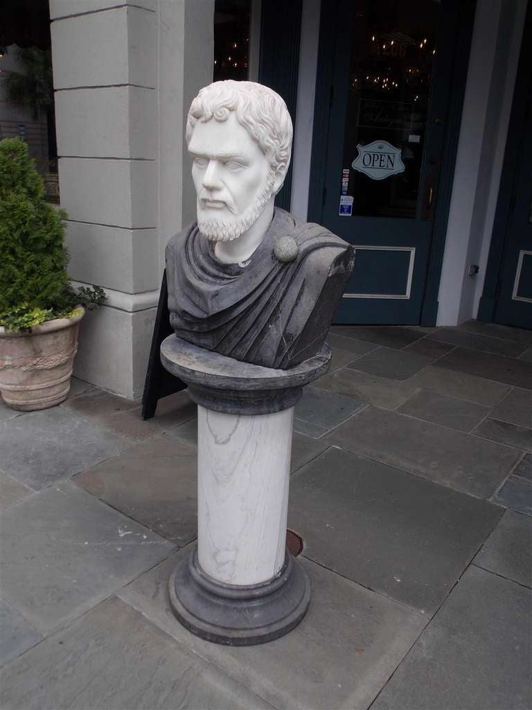 Italian Marble Roman Bust on Pedestal. Circa 1840 For Sale 1
