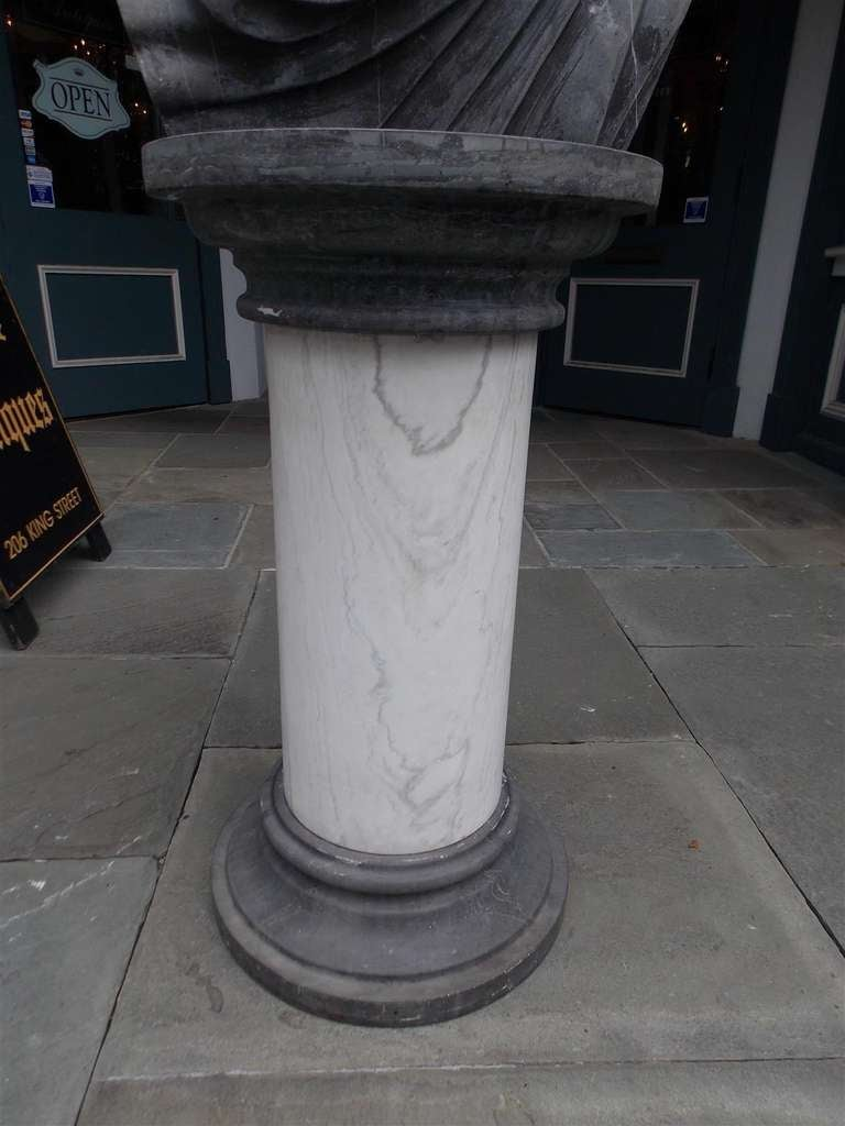 Italian Marble Roman Bust on Pedestal. Circa 1840 For Sale 4