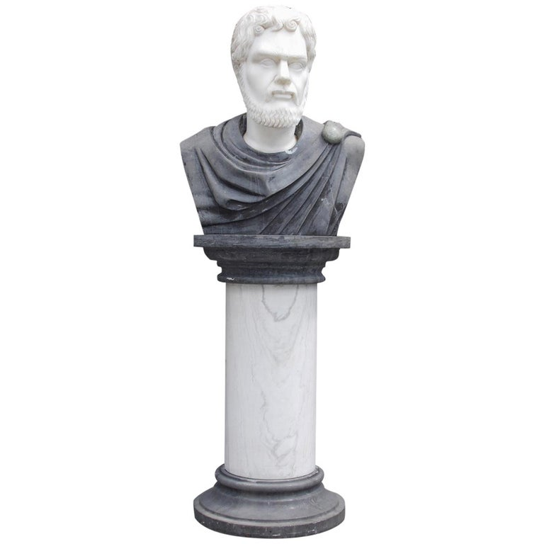 Italian Marble Roman Bust on Pedestal. Circa 1840 For Sale