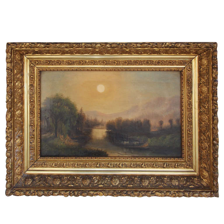 American Oil on Canvas Landscape . Circa 1850