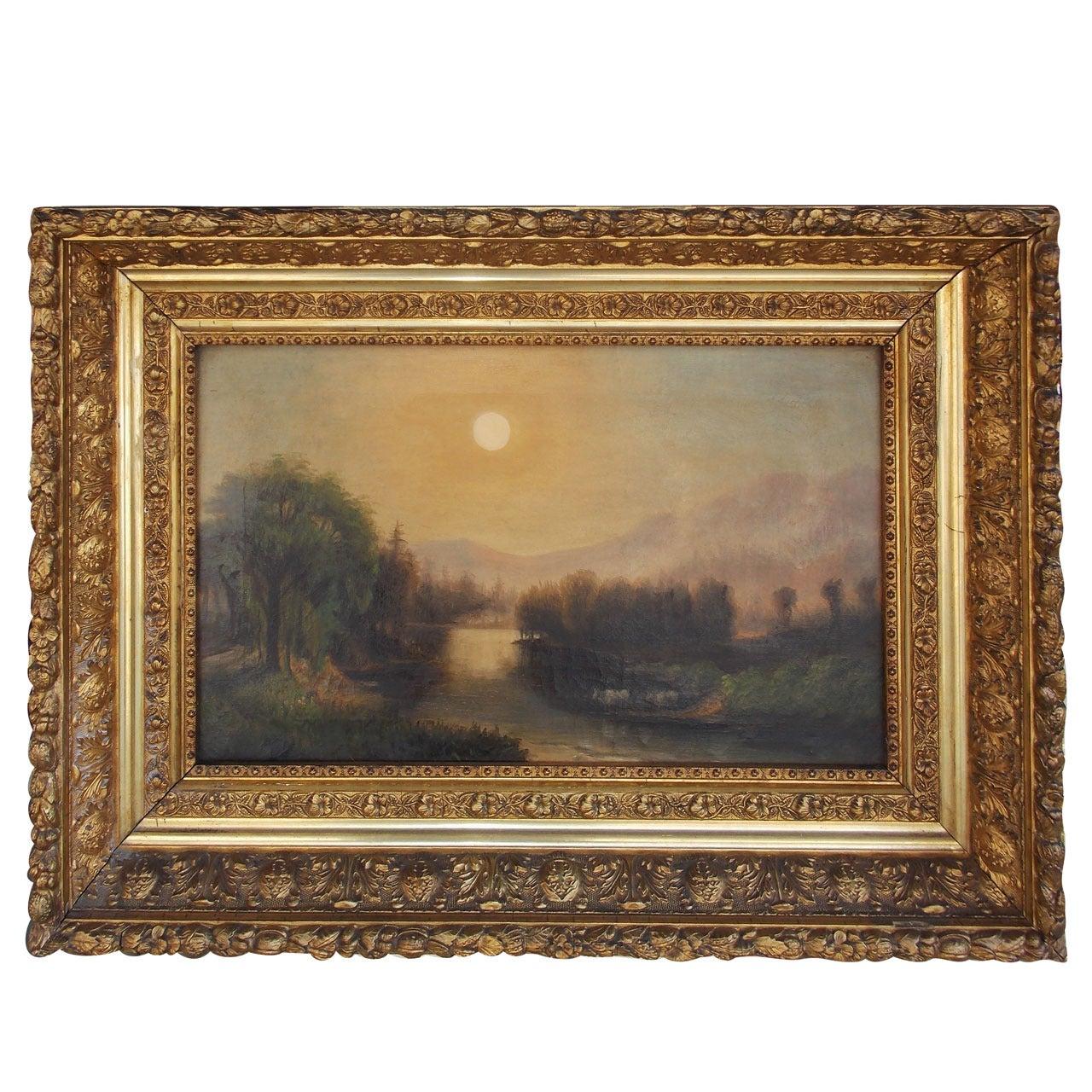 American Oil on Canvas Landscape in the Original Floral Gilt Frame. Circa 1850