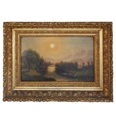American Oil on Canvas Landscape in the Original Floral Gilt Frame. Circa 1850